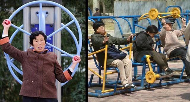 Ở Trung Quốc, người ta có thể thấy thiết bị tập luyện ở hầu hết trong công viên và các khu vực công cộng. Tất cả đều miễn phí!