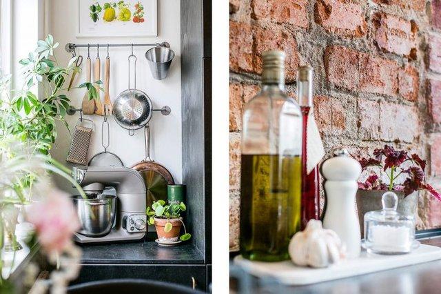 Mọi vật dụng trong gian bếp được sắp xếp vô cùng gọn gàng, ngăn nắp.