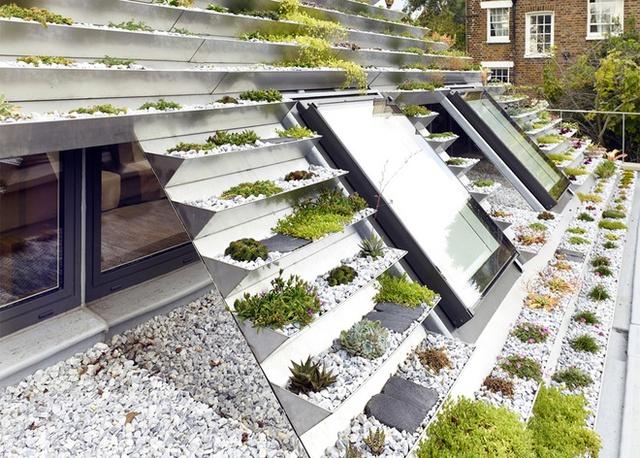 Những khung kính đặt dốc trên mái nhà là những giếng trời mang ánh sáng cho các khu vực chức năng bên trong.