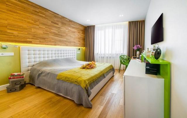 Phòng ngủ thiết kế không cầu kỳ mà đa phần là sử dụng màu sắc làm điểm dừng.