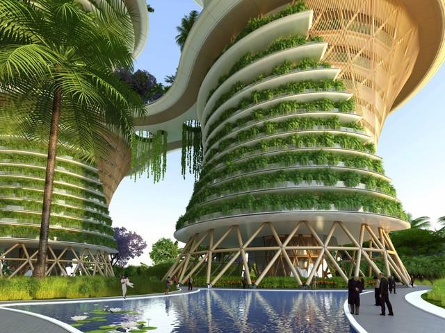 Sản phẩm nông nghiệp phụ từ các trang trại cũng sẽ được chuyển thành khí metan để tạo ra năng lượng để sử dụng trong tòa nhà.