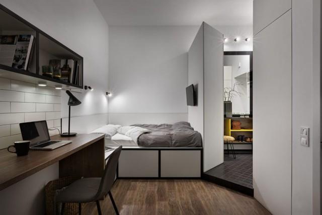 Chính nhờ thiết kế thông minh này mà không gian sống thêm phần rộng thoáng mà không cần tủ đựng quần áo lềnh kềnh chiếm diện tích.
