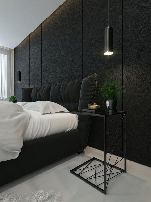 Màu trắng của giường ngủ, sàn, tường nhà kết hợp với màu đen mang đên một phòng ngủ yên ả, nhẹ nhàng.