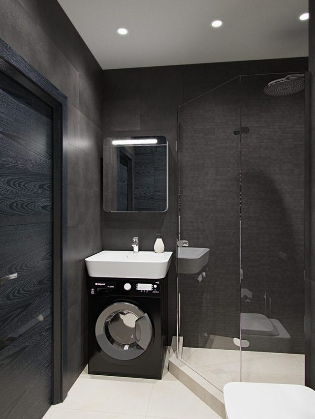 Nhà tắm tuy nhỏ nhưng được thiết kế đẹp và tiện.