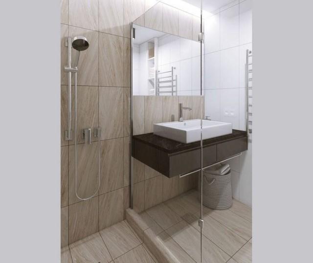 Không gian phòng tắm rộng được với nội thất hiện đại và tiện nghi.