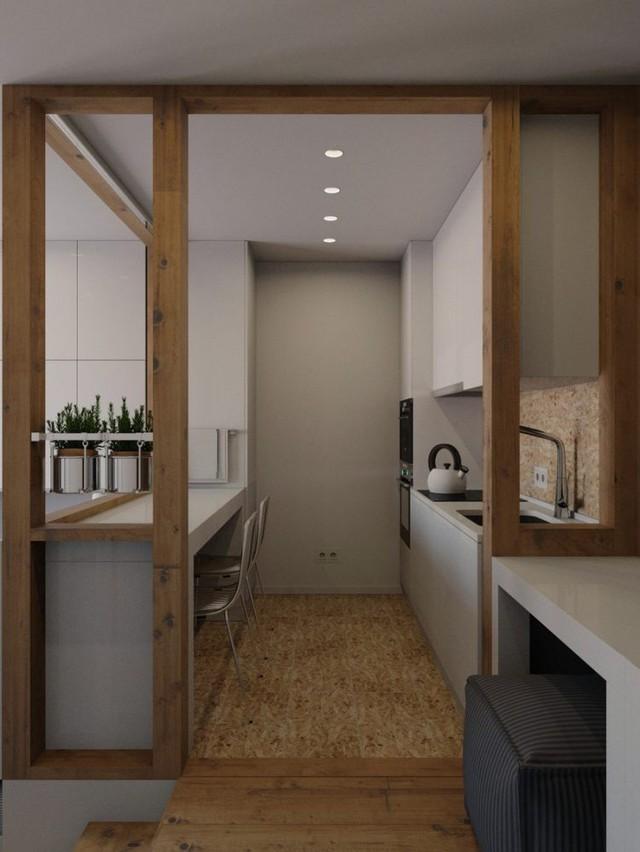 Không gian bên trên là góc bếp nhỏ gọn gàng và sạch sẽ.