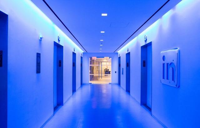 Hành lang màu xanh sáng mang lại cảm giác như bước vào tương lai.