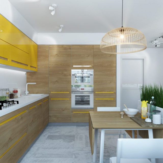 Nhờ hệ thống tủ thông minh mà mọi vật dụng trong bếp từ tủ lạnh, lò vi sóng…. đều được giấu nhẹm vừa vặn bên trong.