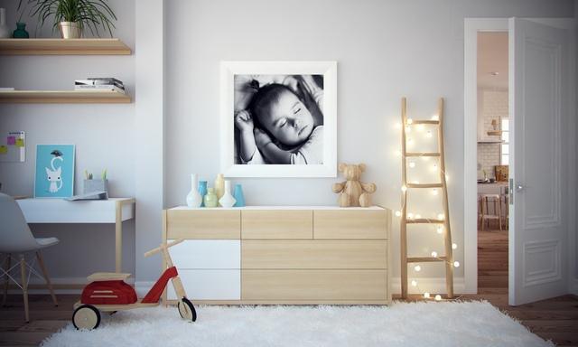 Khác hẳn với không gian nghỉ ngơi của bố mẹ, phòng dành cho em bé được thiết kế đặt biệt với nhiều màu sắc khác nhau.