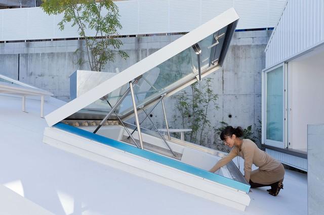 Những khung cửa kính trên mái nhà khi cần sẽ được mở ra để đón nắng gió cho khắp không gian.