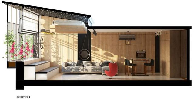 Với thiết kế và sử dụng đồ nội thất thông minh nên căn hộ dù nhỏ vẫn đủ đầy tất cả không gian chức năng cần thiết.