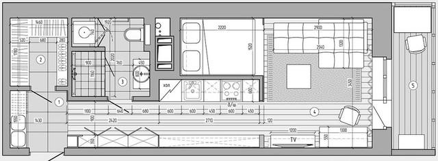 Sơ ồ thiết kế toàn bộ không gian căn hộ.