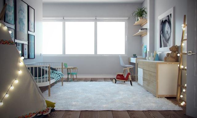 Vẫn giữ tông màu sáng đồng nhất với toàn bộ ngôi nhà, nhưng không gian dành cho em bé tươi sáng với ánh sáng tự nhiên và sinh động về màu sắc hơn hẳn.