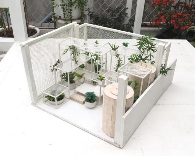 Mô hình khu vườn trên sân thượng.