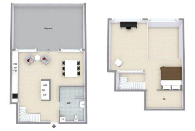 Sơ đồ bố trí không gian các tầng trong ngôi nhà.