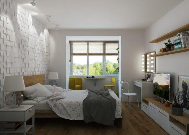 Khác với bếp và phòng khách, góc nghỉ ngơi được bố trí một phòng riêng biệt, yên tĩnh.