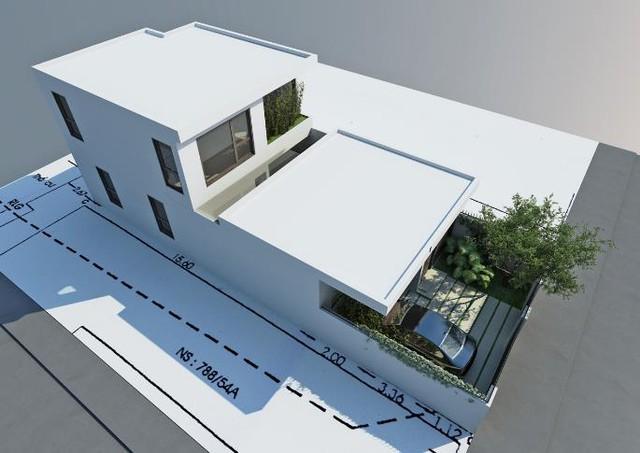 Mô hình ngôi nhà nhìn từ trên cao.