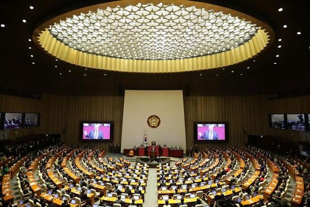 Tổng thống Mỹ Trump phát biểu tại Quốc hội Hàn Quốc ở Seoul vào ngày 8/11.