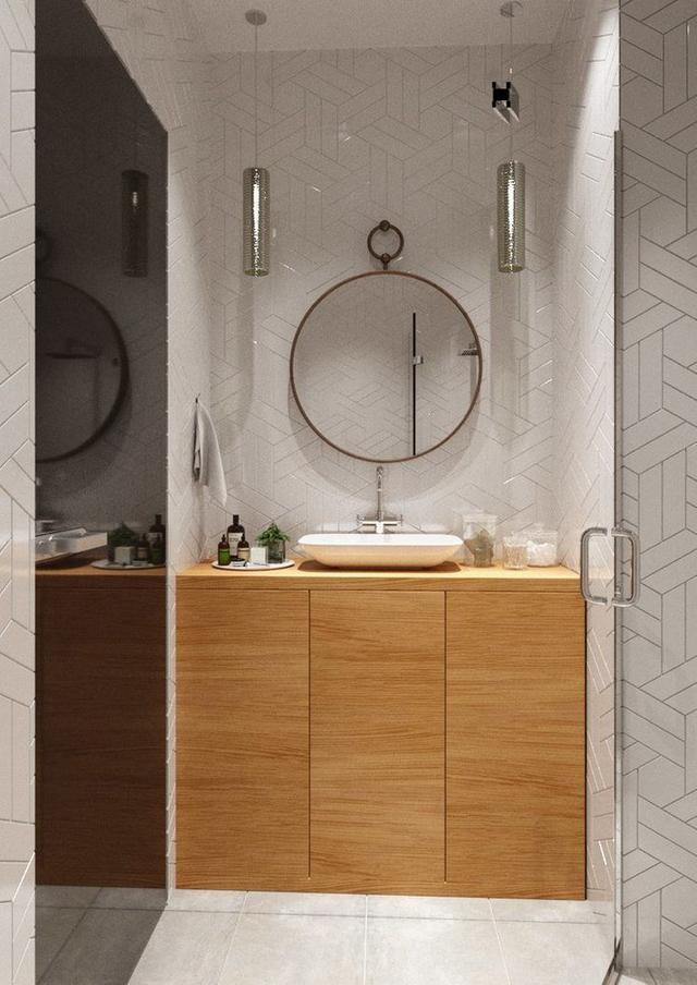 Tuy không lớn nhưng nó được thiết kế khá đẹp và tiện lợi với hệ thống tủ để đồ dưới chậu rửa.