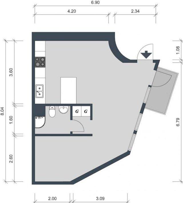 Sơ đồ thiết kế toàn bộ căn hộ.