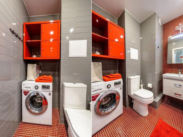 Không gian nơi đây còn được tô điểm bởi tấm trải sàn, tủ đựng đồ và những chiếc khăn tắm đồng màu.