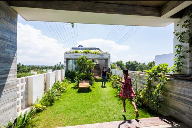 Những cây dây leo và hoa cũng được trồng hai bên mang màu sắc tuyệt đẹp cho không gian vui chơi này