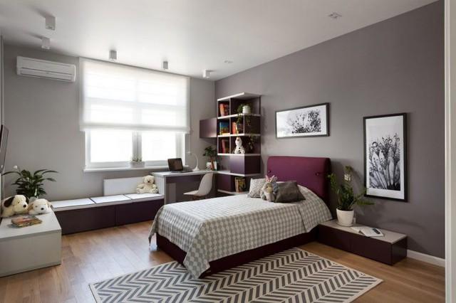Phòng ngủ dành cho em bé được thiết kế vui tươi nhiều màu sắc.