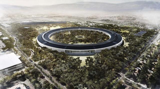 """Apple Campus 2 hệt như một """"phi thuyền"""" khổng lồ giữa không gian."""