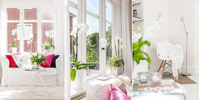 Với phong cách thiết kế để sắc trắng che phủ hầu hết không gian nên từng chi tiết nhỏ trong căn hộ trở thành những điểm nhấn nổi bật trên nền trắng muốt.