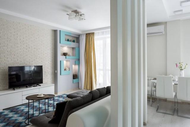 Trên diện tích hơn 50m2, căn hộ được bố trí đầy đủ các khu vực chức năng rộng thoáng gồm: phòng khách, bếp, nhà tắm và khu vực nghỉ ngơi.