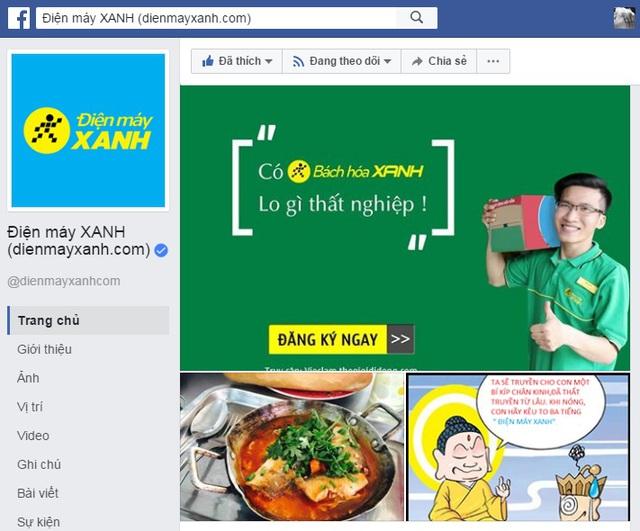 Fanpage chính thức của Dienmayxanh.com có dấu tích xác thực màu xanh.