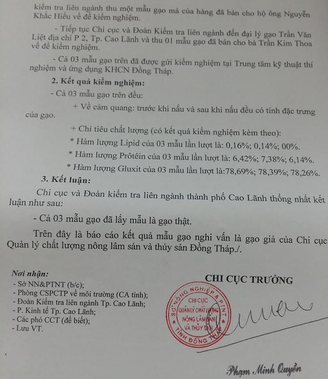 Báo cáo kết quả kiểm định về nghi vấn gạo giả từ Chi cục QLCLNLS&TS tỉnh Đồng Tháp.