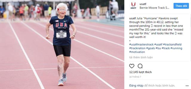Cộng đồng Instagram bày tỏ sự ngưỡng mộ với nữ vận động viên 101 tuổi.