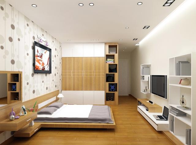 Với phòng ngủ nơi ít đi lại thì chỉ cần dùng loại sàn gỗ bình thường, không nên quá dày gây lãng phí.