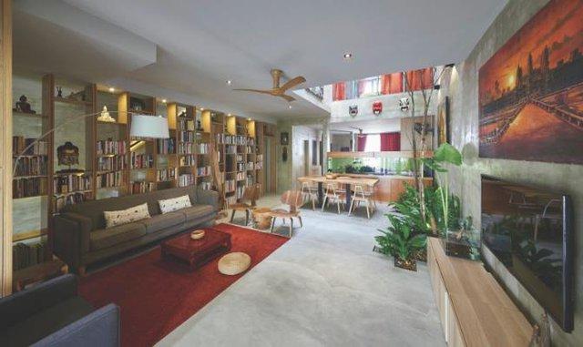 Không gian tầng 1 từ phòng khách, bếp, khu vực ăn uống được thiết kế mở hoàn toàn tạo sự thông thoáng cho toàn bộ ngôi nhà.