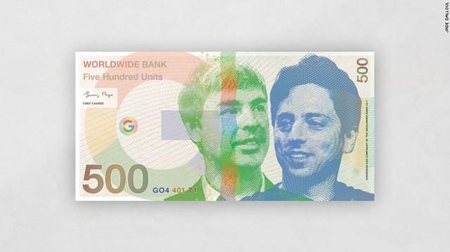 2 nhà sáng lập Google Larry Page và Sergey Brin trên tờ 500 đơn vị.