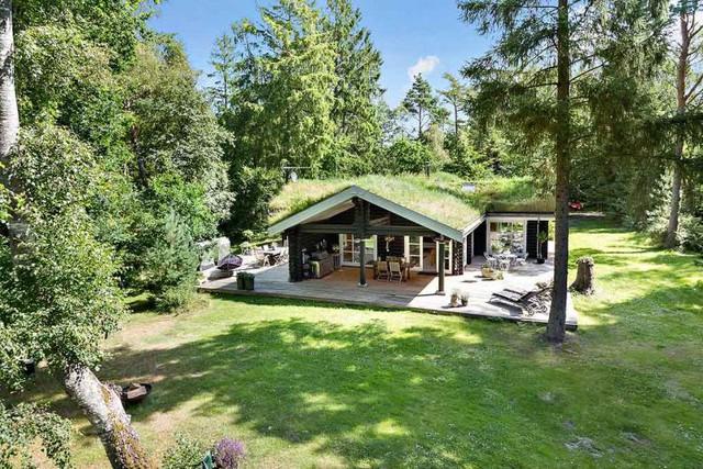 Trên tổng diện tích 157m2, ngôi nhà được thiết kế dưới dạng hình chữ L với với không gian xung quanh là cây xanh và thảm cỏ tuyệt đẹp.