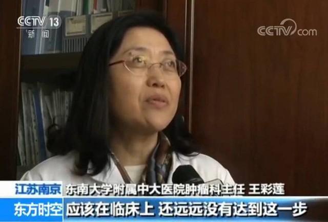 Chuyên gia về ung bướu Vương Thái Liên trả lời phỏng vấn. (Ảnh: Nguồn CCTV.com).