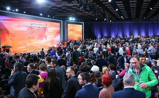 Cuộc họp báo cuối cùng trong nhiệm kỳ thứ ba của ông Putin thu hút lượng phóng viên đưa tin đông kỷ lục (Ảnh: Kremlin)