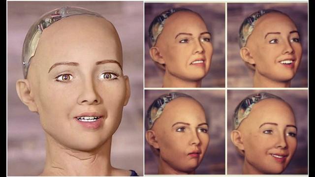 Biểu cảm đa dạng của robot Sophia. Ảnh: Internet