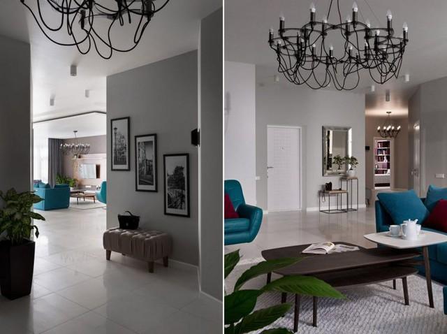Trên diện tích 160m2 căn hộ được bố trí với 3 phòng ngủ riêng biệt. Các không gian sinh hoạt chung gồm phòng khách, bếp và khu vực bàn ăn được thiết kế mở thông thoáng.