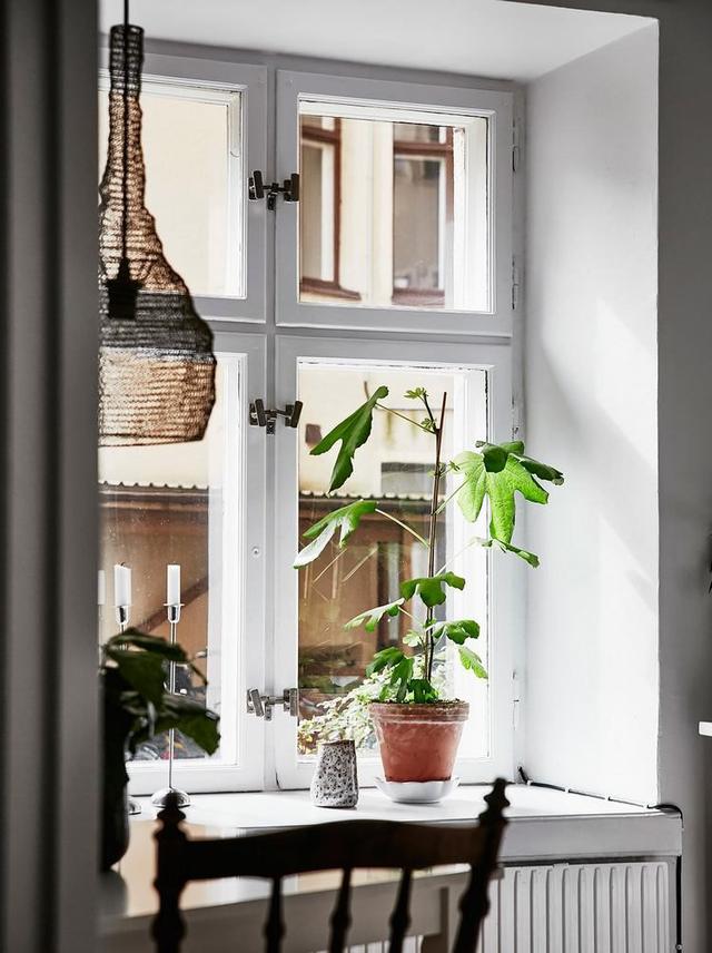 Một điểm cộng lớn của căn hộ này chính là sở hữu những ô cửa lớn cùng view nhìn ra khung cảnh bên ngoài phủ đầy một màu xanh tuyệt đẹp.