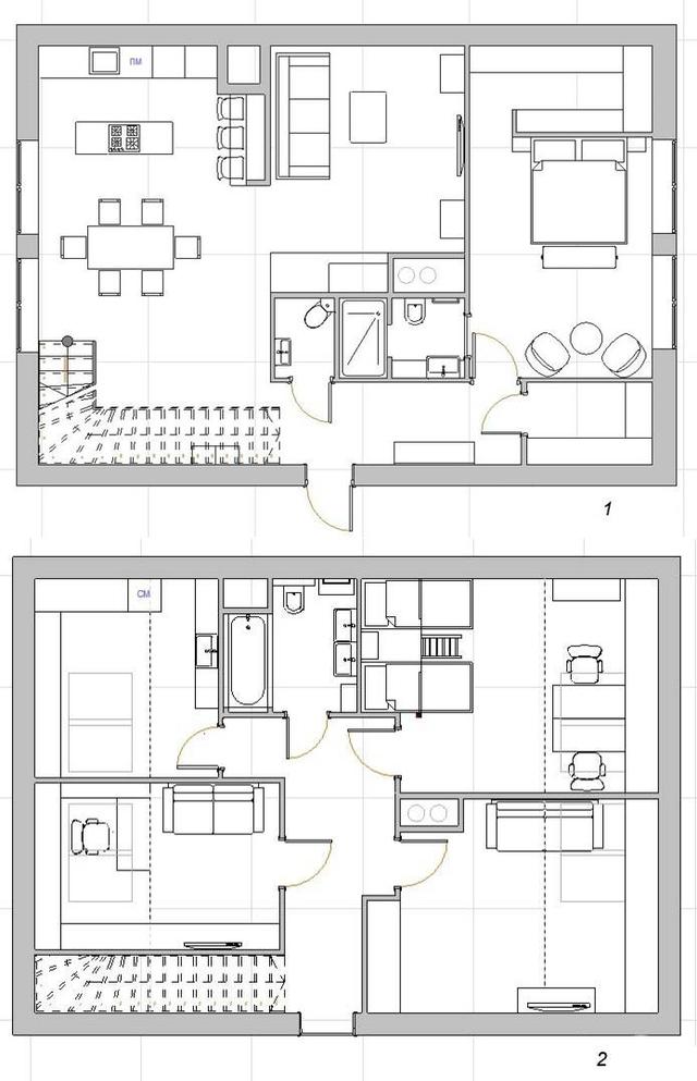 Sơ đồ bố trí các không gian trong nhà.