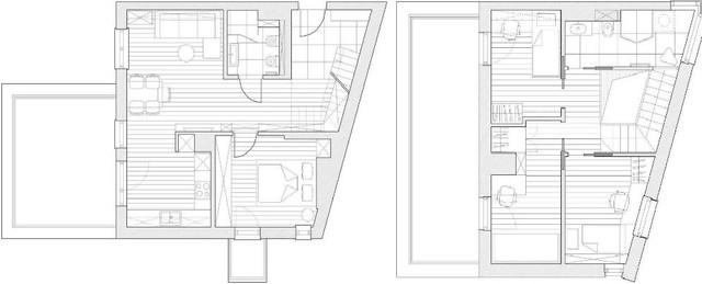 Sơ đồ bố trí tầng 1 và tầng 2 của căn hộ.