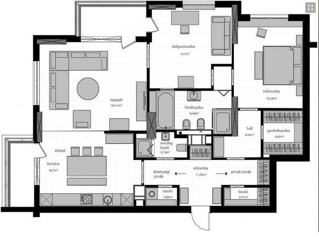 Sơ đồ bố trí toàn bộ không gian chức năng trong căn hộ.
