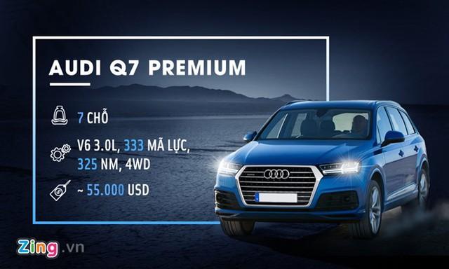 Audi Q7 Premium sở hữu nhiều tính năng tiên tiến như hệ thống camera 360, màn hình hiển thị HUD, hệ thống âm thanh 10 loa và nhiều công nghệ an toàn hỗ trợ người điều khiển. Xe được trang bị động cơ V6 3.0L 4WD, sản sinh công suất 333 mã lực và 325 Nm mô-men xoắn. Giá của Audi Q7 Premium tại thị trường Mỹ là 55.000 USD.