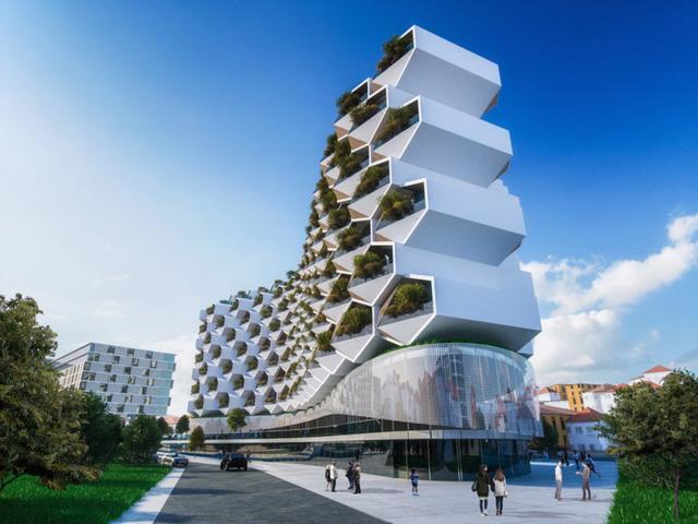 Công trình được thiết kế với các tầng trên dành làm không gian sinh hoạt của cư dân., các không gian văn hóa và giải trí nằm ở các tầng thấp, mang lại cảm giác về một cộng đồng chung cho người dân sinh sống trong tòa nhà.