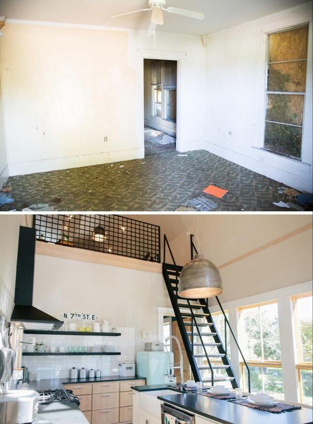 Chủ nhà đã thiết kế thêm một gác xép nhỏ dành làm không gian làm việc riêng tư.
