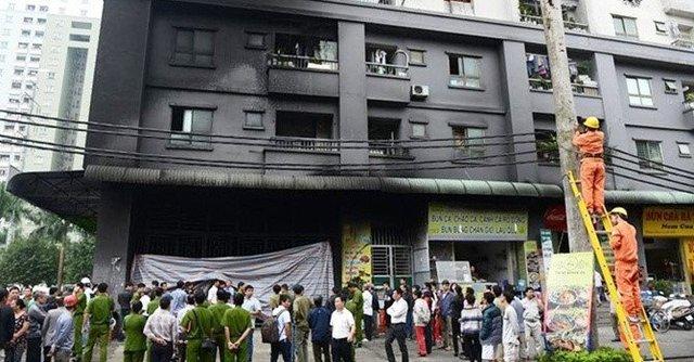Hiện trường vụ cháy chung cư