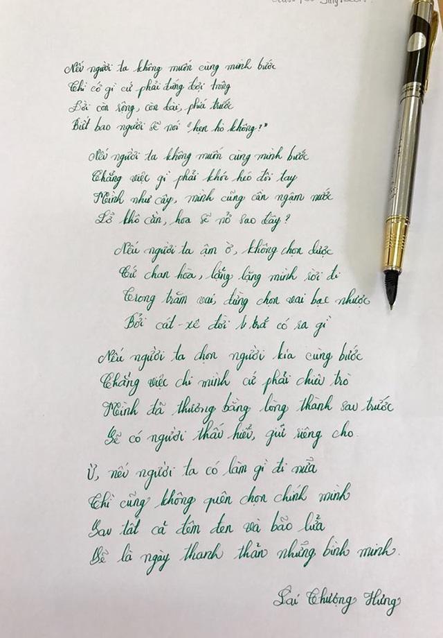 Nhiều bạn trẻ còn chép tay thơ của Hưng để lưu giữ và nhắc nhở bản thân.